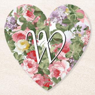 Monogram Floral Pattern Paper Coaster
