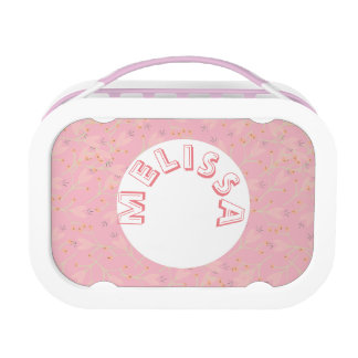 Monogram Floral Pink Girly Cute Lunchbox