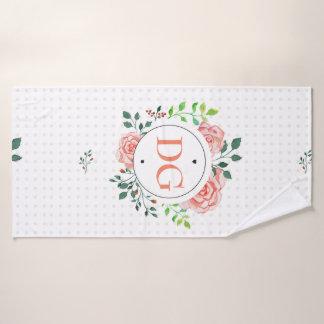 Monogram Floral Pink Girly Frame Towel Set