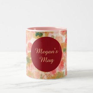 Monogram Floral  Roses Two-Tone Coffee Mug