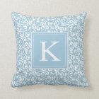 Monogram Floral Vineyard in Baby Blue Throw Pillow