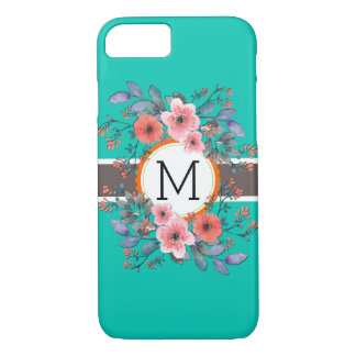 Monogram Floral Vintage Modern Plain Amazonite iPhone 8/7 Case