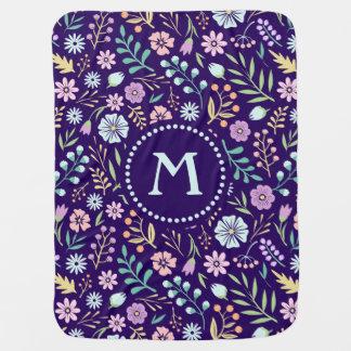 Monogram Floral Whimsical Boho Baby Blanket
