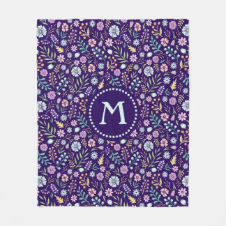Monogram Floral Whimsical Boho Fleece Blanket