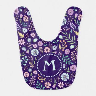Monogram Floral Whimsical Boho Pattern Baby Bib