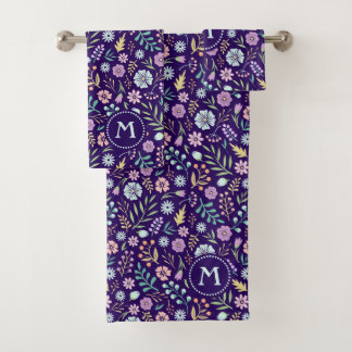 Monogram Floral Whimsical Pattern Towel Set
