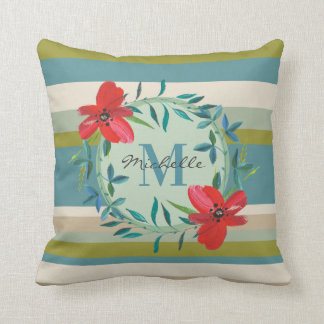 Monogram Floral with Green Teal Stripes Throw Pillow