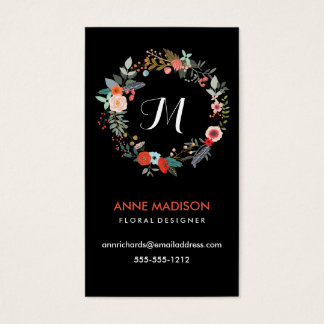 Monogram Floral Wreath Business Card