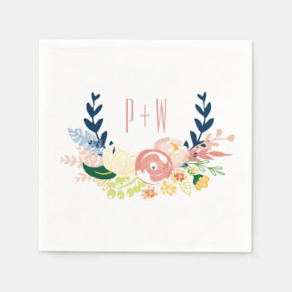 Monogram Floral Wreath | Cocktail Napkin Disposable Napkin