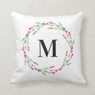 Monogram Floral Wreath Pillow