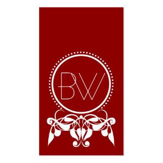 Monogram Flourish [red] Business Cards