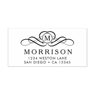 Monogram Flourish return address Self-inking Stamp