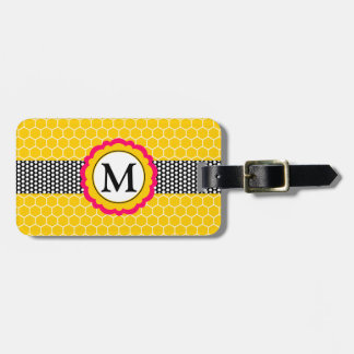 Monogram Flower and Honeycomb Pattern Personalized Travel Bag Tags