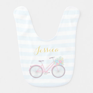 Monogram Flower Bicycle Cute Pastel Baby Bib