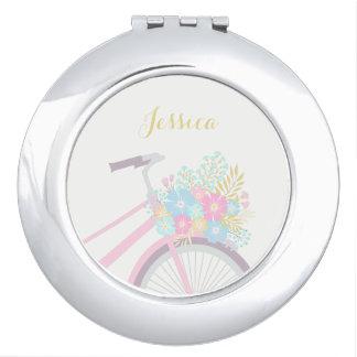 Monogram Flower Bicycle Cute Pastel Compact Mirror