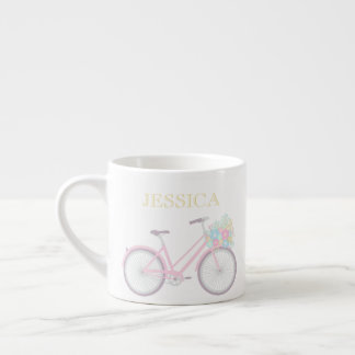 Monogram Flower Bicycle Cute Pastel Espresso Mug