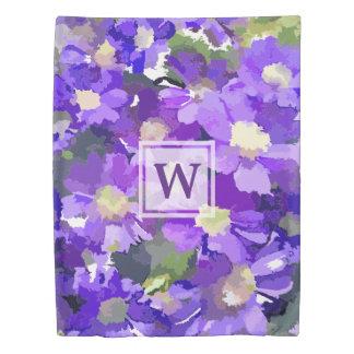 Monogram Flowers Purple Daisies Floral Botanical Duvet Cover