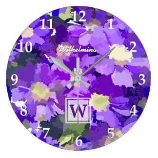 Monogram Flowers Purple Daisies Floral Botanical Wall Clocks