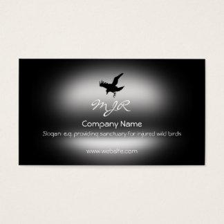 Monogram, Flying Raven Bird, metallic-effect Business Card