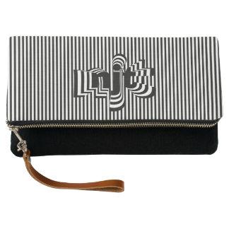 Monogram Font art - Black and White Striped Clutch