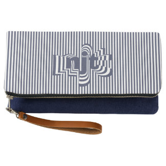 Monogram Font art - Navy Blue and White Striped Clutch
