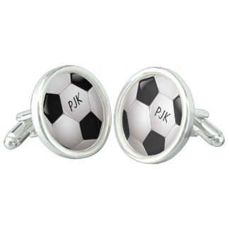 Monogram Football Soccer Ball Cuff Links