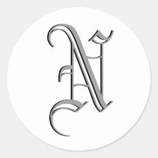 "Monogram Formal Sticker ""N"""