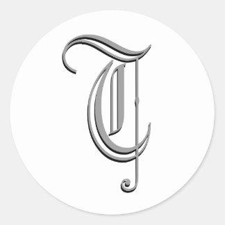 """Monogram Formal Sticker """"T"""""""