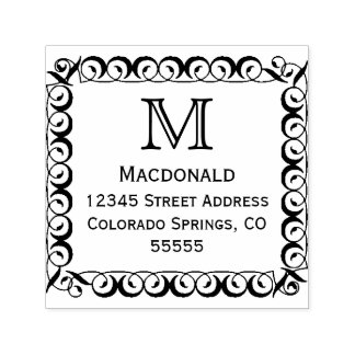 Monogram Frame - Self-Inking Address Stamp