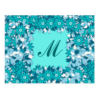 Monogram framed with flowers - blue and white postcard