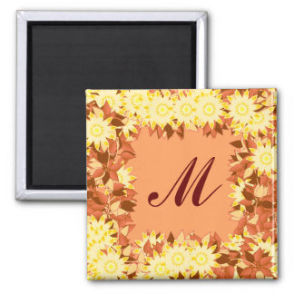 Monogram framed with flowers - cocoa yellow magnets