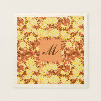 Monogram framed with flowers - cocoa & yellow paper napkins