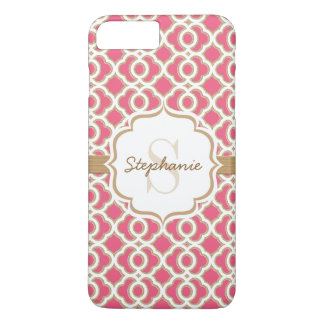 Monogram Fuchsia and Gold Quatrefoil iPhone 7 Plus Case