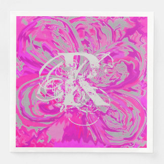 Monogram Fuchsia Paper Dinner Napkins Serviettes