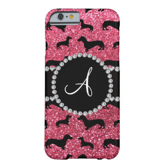 Monogram fuchsia pink glitter dachshund barely there iPhone 6 case