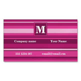 Monogram fuchsia stripes magnetic business card