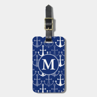 Monogram Fun Anchor Pattern Luggage Tag
