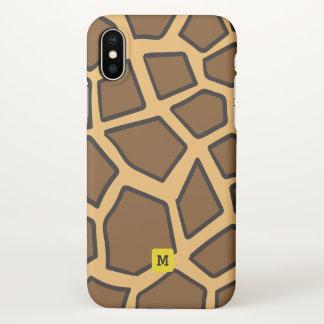 Monogram. Funny Cute Doodle Giraffe Safari Pattern iPhone X Case