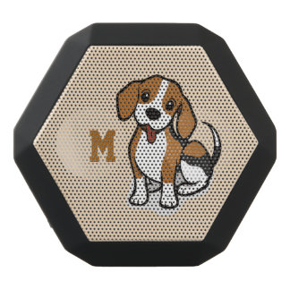 Monogram. Funny Cute Little Puppy Dog. Beagle. Black Bluetooth Speaker