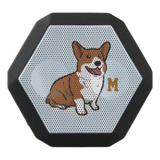 Monogram. Funny Cute Little Puppy Dog. Corgi. Black Bluetooth Speaker