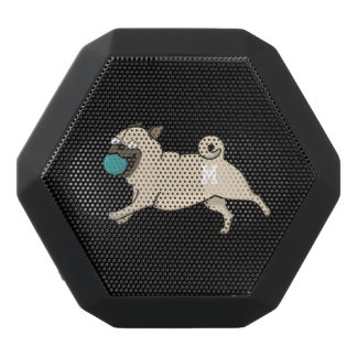 Monogram. Funny Cute Little Puppy Dog. Pug. Black Bluetooth Speaker