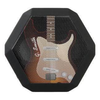 Monogram. Funny Electric Guitar. Black Bluetooth Speaker