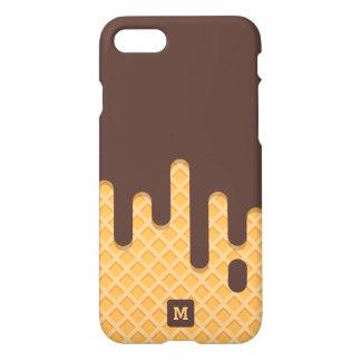 Monogram. Funny. Melting Chocolate Icecream Wafer iPhone 8/7 Case