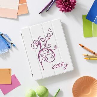 Monogram Fuscia Swirl iPad Cover