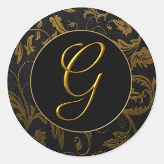 Monogram G Gold and Black Damask Wedding Seal