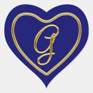Monogram G in 3D gold Heart Sticker