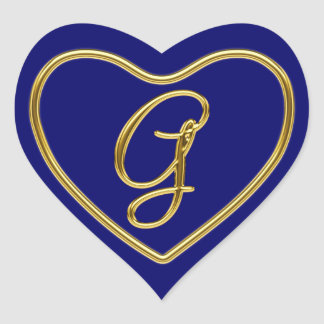 Monogram G in 3D gold Heart Stickers