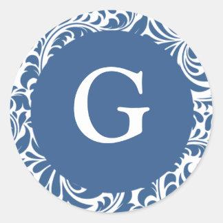Monogram G Slate Blue Seals For Wedding Theme Mono