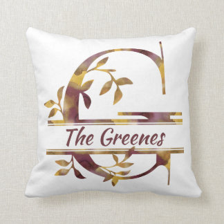 Monogram G - Watercolor - Personalized Throw Pillow