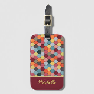 Monogram Geometric Hexagon Pattern Luggage Tag